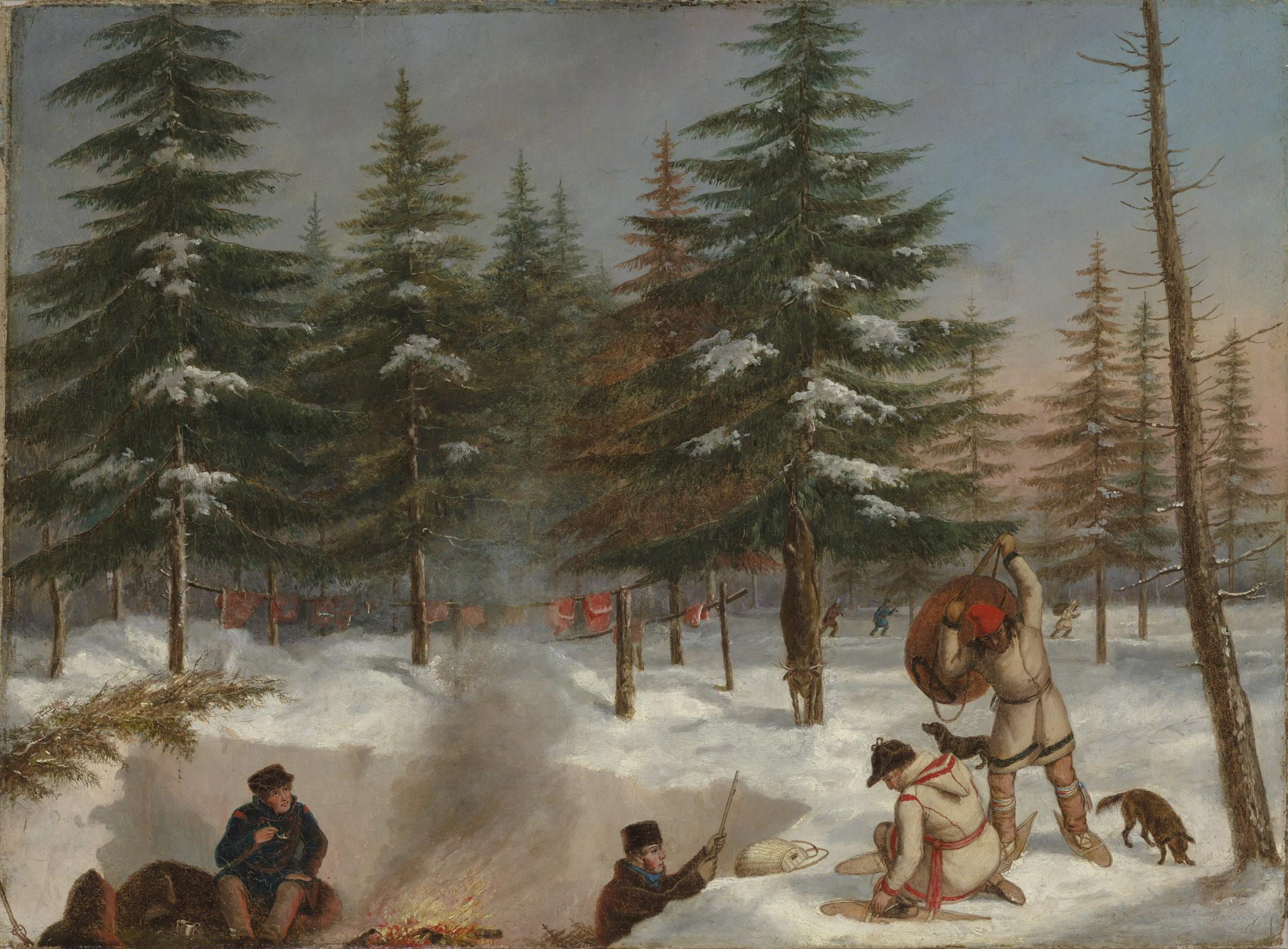 Cornelius Krieghoff, Camp de chasse, en hiver